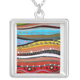 Stillness - Abstract Art Square Pendant Necklace