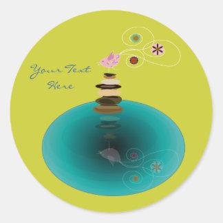Stillness, zen bird in meditation classic round sticker