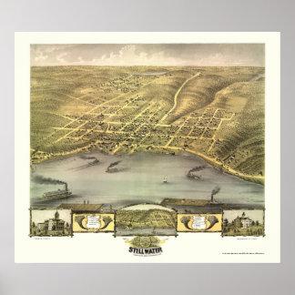 Stillwater, mapa panorámico del manganeso - 1870 póster