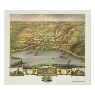 Stillwater, MN Panoramic Map - 1870 Poster
