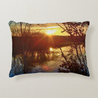 Stillwater River Sunrise Decorative Pillow