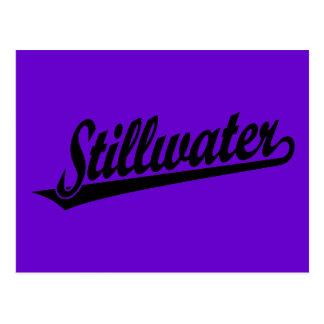 Stillwater script logo in black postcard