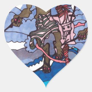 stilt fishing heart sticker