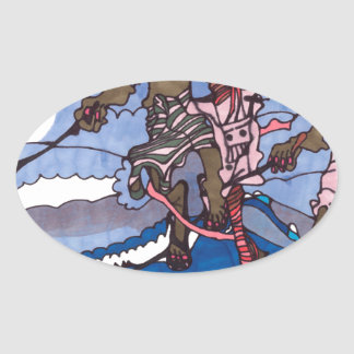 stilt fishing oval sticker