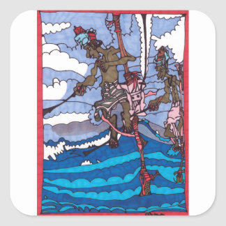 stilt fishing square sticker