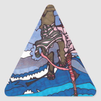 stilt fishing triangle sticker