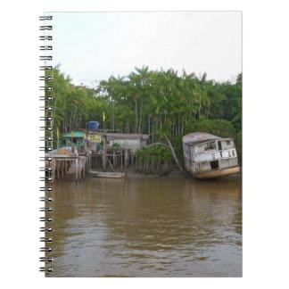 Stilt houses on Amazon river Notebook