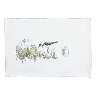 Stilt Shorebird Bird Animal Wildlife Pillowcase