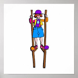 stilt walker clown poster