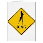 Stilt-Walker Crossing Highway Sign Cards