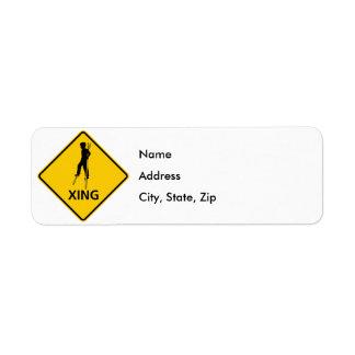 Stilt-Walker Crossing Highway Sign Label