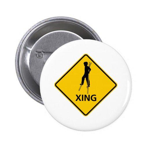 Stilt-Walker Crossing Highway Sign Pinback Button