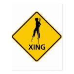 Stilt-Walker Crossing Highway Sign Post Card