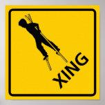 Stilt-Walker Crossing Highway Sign Poster