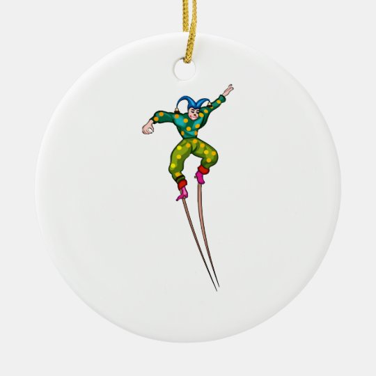 Stilt walking jester ceramic ornament