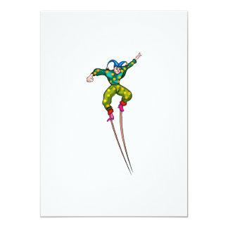 Stilt walking jester 5x7 paper invitation card