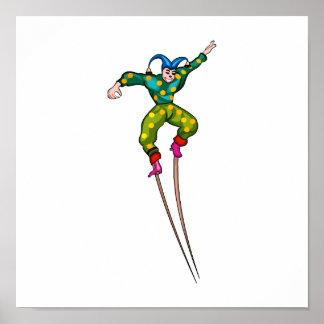 Stilt walking jester poster