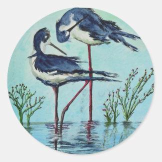 Stilts Bathing - Painting Classic Round Sticker
