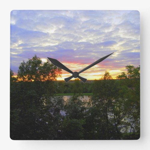 Stilwell Pond at Sunset Square Wall Clock
