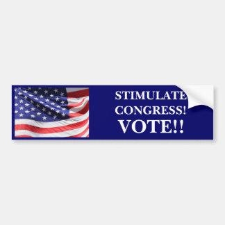 STIMULATE CONGRESS! VOTE!! CAR BUMPER STICKER