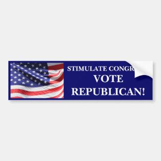 STIMULATE CONGRESS! VOTE REPUBLICAN!! CAR BUMPER STICKER