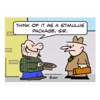 stimulus package panhandler postcard