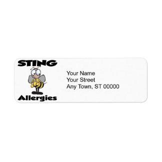 STING Allergies Custom Return Address Label