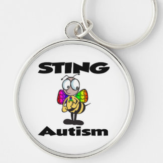 STING Autism Silver-Colored Round Keychain