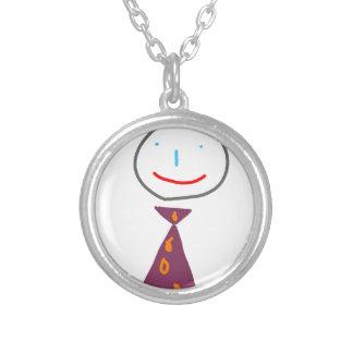 Sting man in tie round pendant necklace