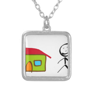 Sting man's house square pendant necklace