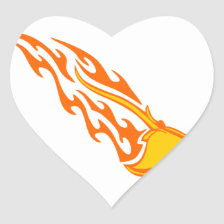 Sting Ray Flames Heart Sticker