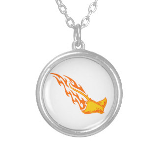 Sting Ray Flames Round Pendant Necklace