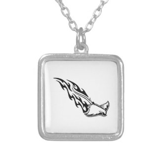Sting Ray Flames Square Pendant Necklace