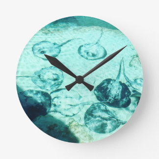Sting rays in Xcaret - Mexico Round Clock