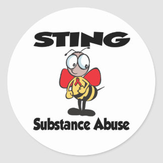 STING Substance Abuse Round Stickers