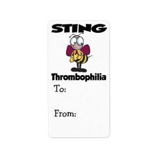STING Thrombophilia Personalized Address Label