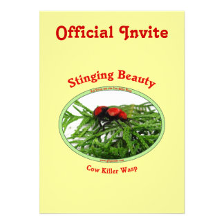 Stinging Beauty Cow Killer Wasp Personalized Invite