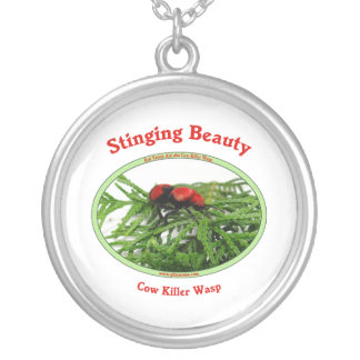 Stinging Beauty Cow Killer Wasp Round Pendant Necklace