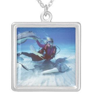 Stingray City, Grand Cayman, Cayman Islands, Silver Plated Necklace