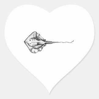Stingray Illustration Heart Sticker