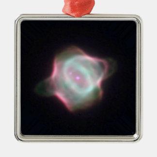 Stingray Nebula Square Metal Christmas Ornament