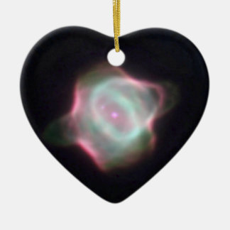Stingray Nebula Double-Sided Heart Ceramic Christmas Ornament
