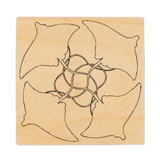 StingRay Pattern Maple Wood Coaster