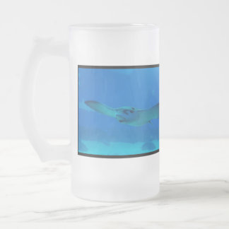 Stingray Swimming Under Water Frosted Beer Mug