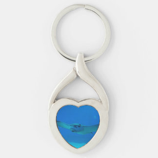 Stingray Swimming Under Water Silver-Colored Heart-Shaped Metal Keychain