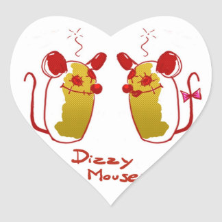 Stings Dizzy Mouse - Love Mouse Heart Shape Heart Sticker