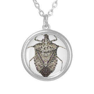 stink bug silver plated necklace