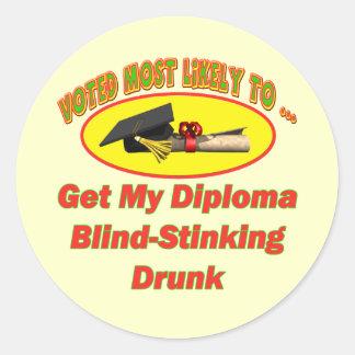 Stinking Drunk Classic Round Sticker