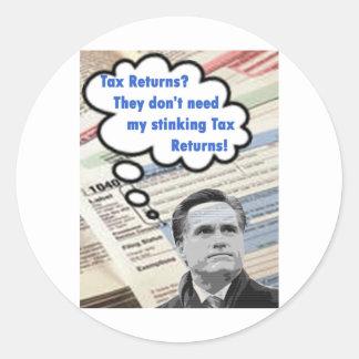 stinking tax returns classic round sticker