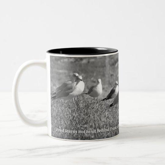 Stinky Seagull Design Two-Tone Coffee Mug